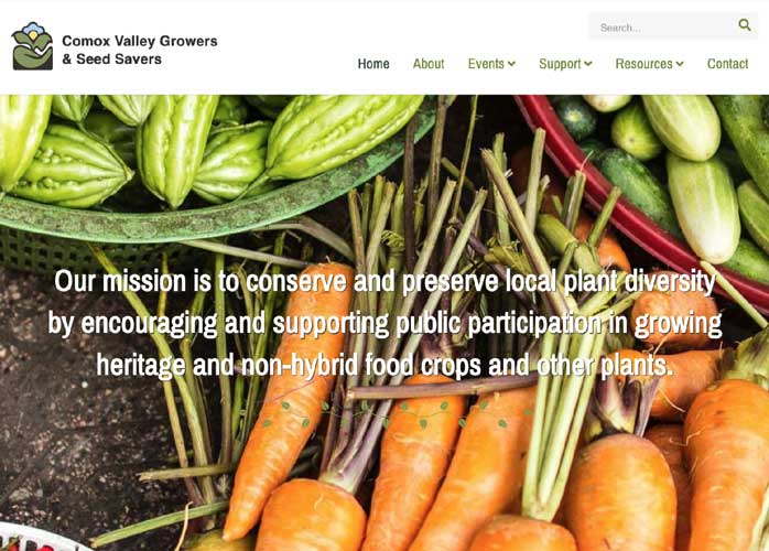 Comox Valley Growers and Seed Seed Savers Website Screenshot